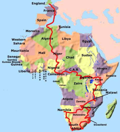 In And Out Of Africa Route Map